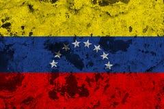 Venezuela flag on old wall stock illustration