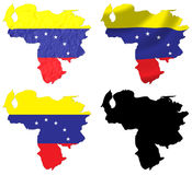 Venezuela flag over map Royalty Free Stock Photos