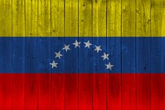 Venezuela flag painted on old wood plank stock photos