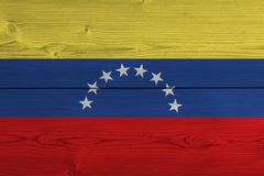 Venezuela flag painted on old wood plank royalty free stock image