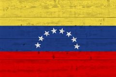 Venezuela flag painted on old wood plank royalty free stock images