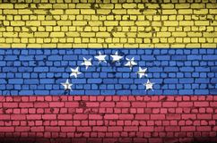 Venezuela flag is painted onto an old brick wall vector illustration