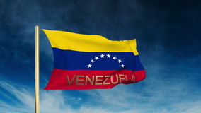 Venezuela flag slider style with title. Waving in stock video