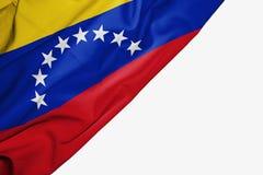 Venezuela flagga av tyg med copyspace f?r din text p? vit bakgrund royaltyfri illustrationer