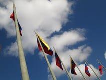 Venezuela flagga på blå himmel, Caracas, Venezuela Arkivfoton