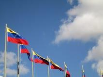 Venezuela flagga på blå himmel, Caracas, Venezuela Arkivfoto