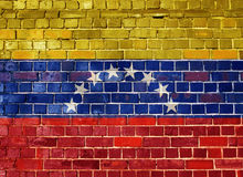 Venezuela flagga på en tegelstenvägg Royaltyfri Foto
