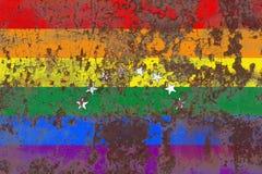 Venezuela glad grungeflagga, flagga för LGBT Venezuela Royaltyfri Foto