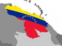 Venezuela on globe with flag Royalty Free Stock Photos