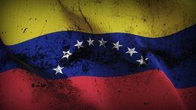 Venezuela grunge dirty flag waving on wind. Venezuelan background fullscreen grease flag blowing on wind. Realistic filth fabric texture on windy day Stock Image