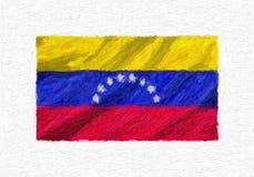 Venezuela hand painted waving national flag. vector illustration