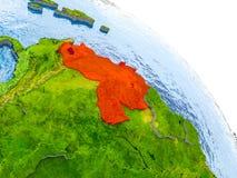 Venezuela im roten Modell von Erde Lizenzfreie Stockfotos