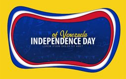 Venezuela. Independence day greeting card. Paper cut style. vector illustration