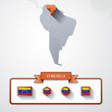 Venezuela info card. Venezuela on the map of South America with flags Royalty Free Stock Images