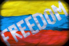 Venezuela January 2019 protests. flag freedom slogan. Juan Guaidó opposition leader stock image