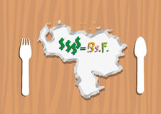 Venezuela Map as an Economic plate symbol with Dollars to Venezuelan currency called bolivar fuerte. Editable Clip Art. A flat lay style clipart of Venezuela Royalty Free Stock Photos