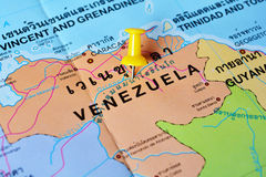 Venezuela map. Macro shot of venezuela map with push pin Stock Photos
