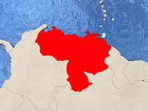 Venezuela on map Royalty Free Stock Photography