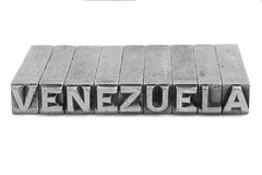 Venezuela sign, antique metal letter type Royalty Free Stock Images