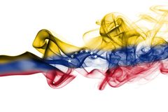 Venezuela smoke flag. Isolated on a white background royalty free stock images