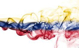 Venezuela smoke flag. Isolated on a white background royalty free stock photography