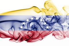 Venezuela smoke flag. Isolated on a white background stock photography