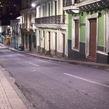 Venezuela Street in the City Center at Night in Quito, Ecuador Royalty Free Stock Image