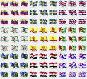 Venezuela, Sweden, Costa Rica, Ingushetia, Chuvashia, Guyana, Solomon Islands, Egypt, Ajaria. Big set of 81 flags. Stock Image