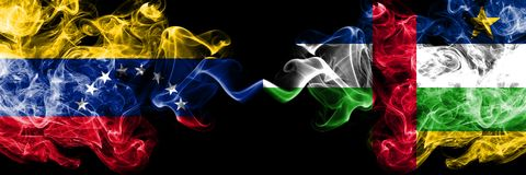 Venezuela vs Central African Republic smoky mystic flags placed side by side. Thick colored silky smoke flags of Venezuela and. Central African Republic stock illustration