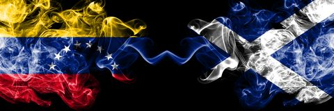Venezuela vs Scotland, Scottish smoky mystic flags placed side by side. Thick colored silky smoke flags of Venezuela and Scotland royalty free illustration