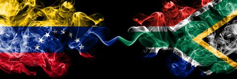 Venezuela vs South Africa, African smoky mystic flags placed side by side. Thick colored silky smoke flags of Venezuela and South. Africa, African vector illustration