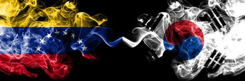 Venezuela vs South Korea, Korean smoky mystic flags placed side by side. Thick colored silky smoke flags of Venezuela and South. Korea, Korean royalty free illustration