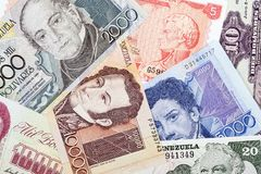 Venezuelan Bolivares, a background Stock Photos