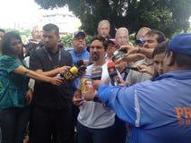 Venezuelan congressman Freddy Guevara Protests in Venezuela. Protests against Venezuelan president Nicolas Maduro Royalty Free Stock Photo