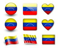 The Venezuelan flag. Set of icons and flags. glossy and matte on a white background Royalty Free Stock Photos