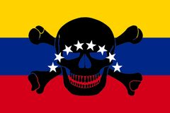 Pirate flag combined with Venezuelan flag. Venezuelan flag combined with the black pirate image of Jolly Roger with crossbones Stock Images