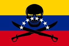 Pirate flag combined with Venezuelan flag. Venezuelan flag combined with the black pirate image of Jolly Roger with cutlasses Stock Photo