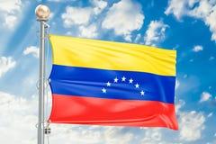 Venezuelan flag waving in blue cloudy sky, 3D rendering Royalty Free Stock Image