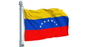 Venezuelan flag waving on white background, animation. 3D rendering