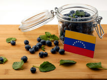 Venezuelan flag on a wooden plank with blueberries on w royalty free stock photography