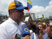 Venezuelan Opposition Leader and congressman Luis Florido giving a speech during the sit-in in April 2017 Caracas Venezuela. Venezuelan opposition leader Luis Stock Photos