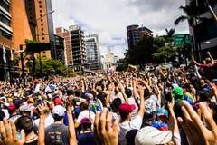 23-01-2019 Venezuelan Protestants take to the streets to express their discontent at the illegitimate takeover of Nicolas Maduro stock photo