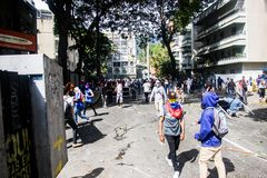 23-01-2019 Venezuelan Protestants take to the streets to express their discontent at the illegitimate takeover of Nicolas Maduro royalty free stock photography