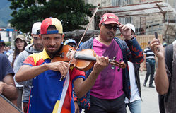 Venezuelan Violinist Wuilly Arteaga playing his violin during protest in Caracas Stock Photos
