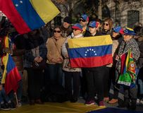 Porto / Portugal - 02/02/2019: Venezuelans in Portugal protest against Nicolas Maduro stock photo