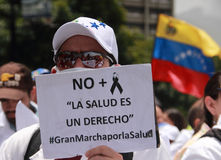 Venezuelans protest about medicine shortages. A protest last month in Caracas, Venezuela, over the country's hospital crisis, medicines are unavailable. The Royalty Free Stock Image
