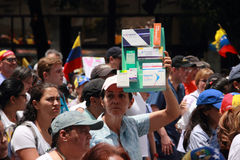 Venezuelans protest about medicine shortages. A woman shows medical packaging with unavailable drugs mainly antibiotics from pharmacies in Venezuela during Stock Photos