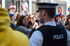 Venezuelans protest outside their country's embassy in London. On Wednesday demanding a recount of votes cast in the 14 April presidential elections. 2013 stock photography