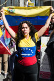Venezuelans protest outside their countrys embassy. In London on Wednesday demanding a recount of votes cast in the 14 April presidential elections. 2013 United royalty free stock photo