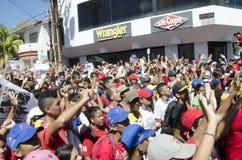 Venezuelanskt politiskt samlar av PSUV-regeringpartiet arkivbilder